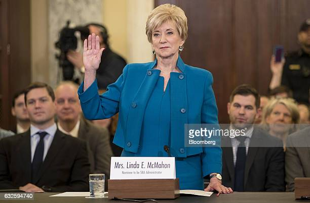 Linda McMahon Small Business Administration administrator nominee for US President Donald Trump is sworn in during a Senate Small Business Committee...