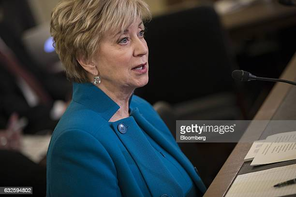Linda McMahon Small Business Administration administrator nominee for US President Donald Trump testifies during a Senate Small Business Committee...