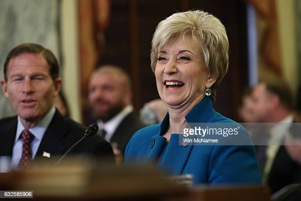 Linda McMahon US President Donald Trump's nominee to be administrator of the Small Business Administration testifies before the Senate Small Business...