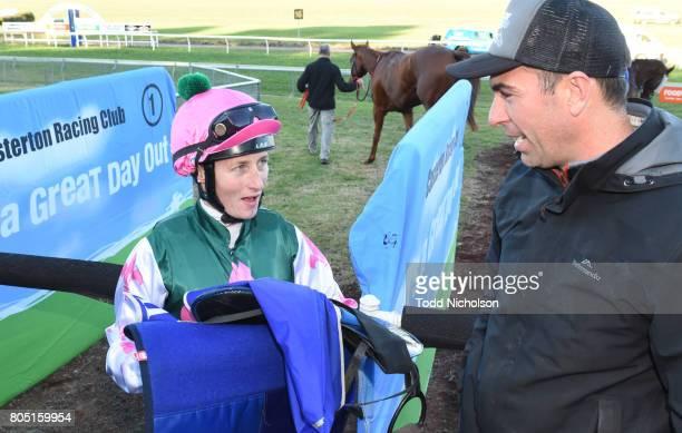 Linda Meech talks to Symon Wilde after winning the Casterton Farm Supplies 0 58 Handicap at Casterton Racecoure on July 01 2017 in Casterton Australia