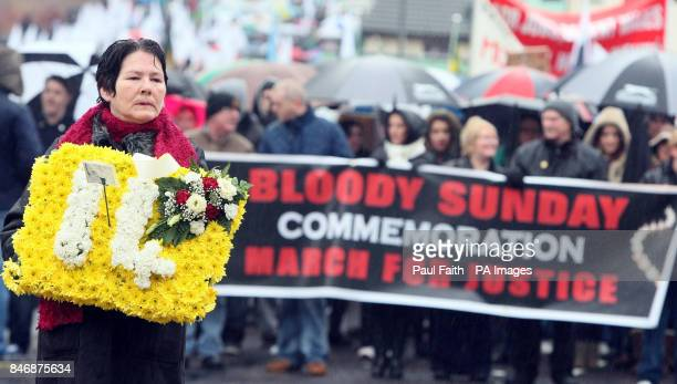 Linda Nash who lost her brother William on Bloody Sunday leads the protest parade in Derry to mark the 40th anniversary of Bloody Sunday