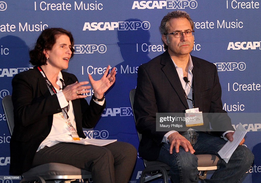 Linda Newmark (L) and Ken Abdo speak onstage at the 2016 ASCAP 'I Create Music' EXPO on April 28, 2016 in Los Angeles, California.