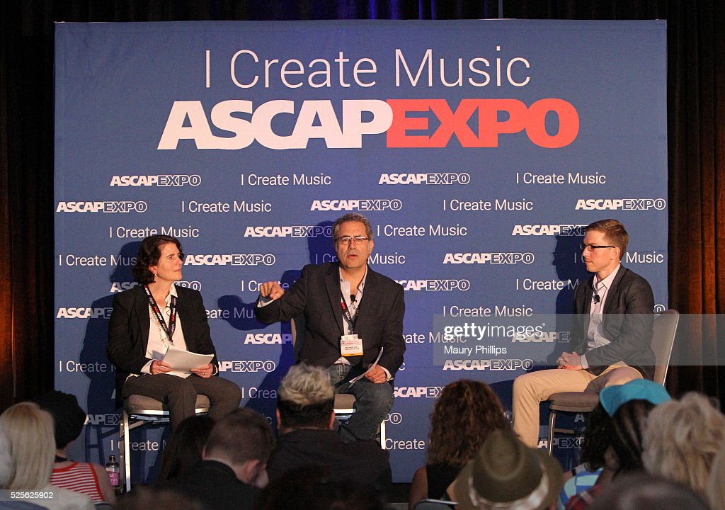 Linda Newmark, Ken Abdo and moderator Alex Grout speak onstage at the 2016 ASCAP 'I Create Music' EXPO on April 28, 2016 in Los Angeles, California.