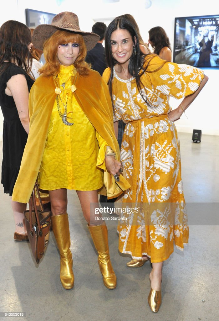 "Linda Ramone, Demi Moore and celebrity floral and fragrance designer Eric Buterbaugh attend the private opening of Sascha von Bismarck debut photography collection, ""PERFUME,"" at Eric Buterbaugh Gallery on September 6, 2017 in Los Angeles, California."
