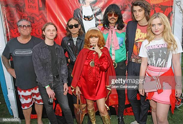 Linda Ramone poses with musician Steve Jones actor Jack Kilmer photographer/designer Hedi Slimane musician JD King model Dylan Brosnan and actress...