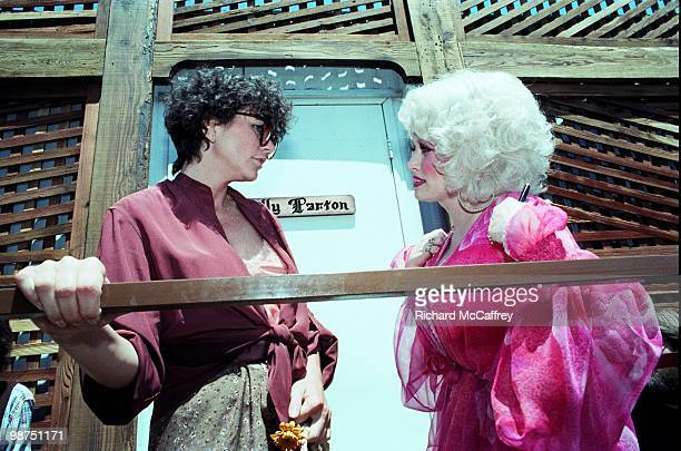 Linda Ronstadt and Dolly Parton backstage at The Oakland Coliseum in 1977 in Oakland California