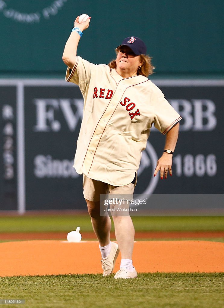 Linda Ruth Tosetti, granddaughter of former New York Yankees player Babe Ruth, throws out the first pitch prior to the game between the Boston Red Sox and the New York Yankees on July 8, 2012 at Fenway Park in Boston, Massachusetts.