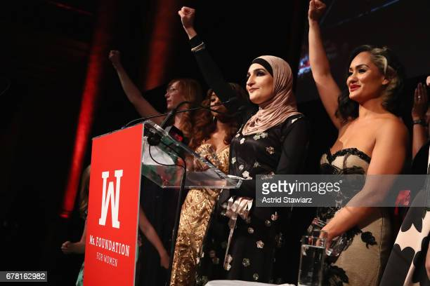 Linda Sarsour and Carmen Perez speak onstage at the Ms Foundation for Women 2017 Gloria Awards Gala After Party at Capitale on May 3 2017 in New York...
