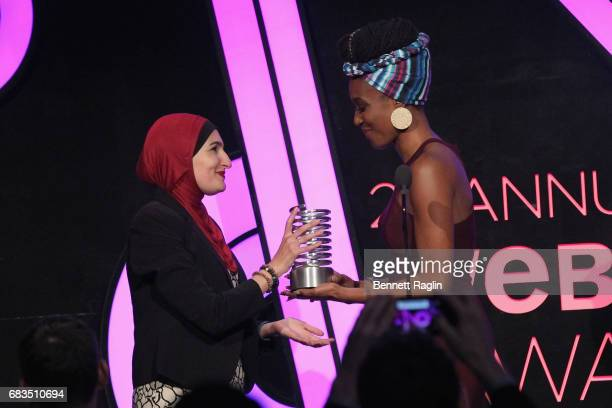 Linda Sarsour and Franchesca Ramsey speak onstage at the The 21st Annual Webby Awards at Cipriani Wall Street on May 15 2017 in New York City