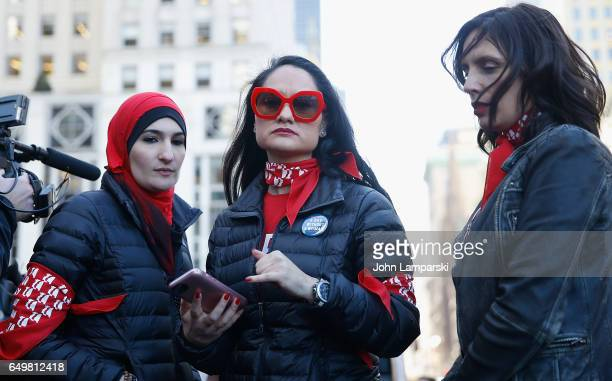 Linda Sarsour PalestinianAmerocan political activist and Carmen Perez demonstrate during A Day Without A Woman Protest in Grand Army Plaza on March 8...