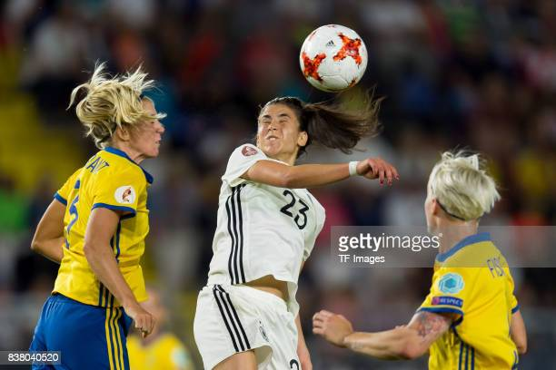 Linda Sembrant of Sweden and Hasret Kayikci of Germany battle for the ball l during the Group B match between Germany and Sweden during the UEFA...