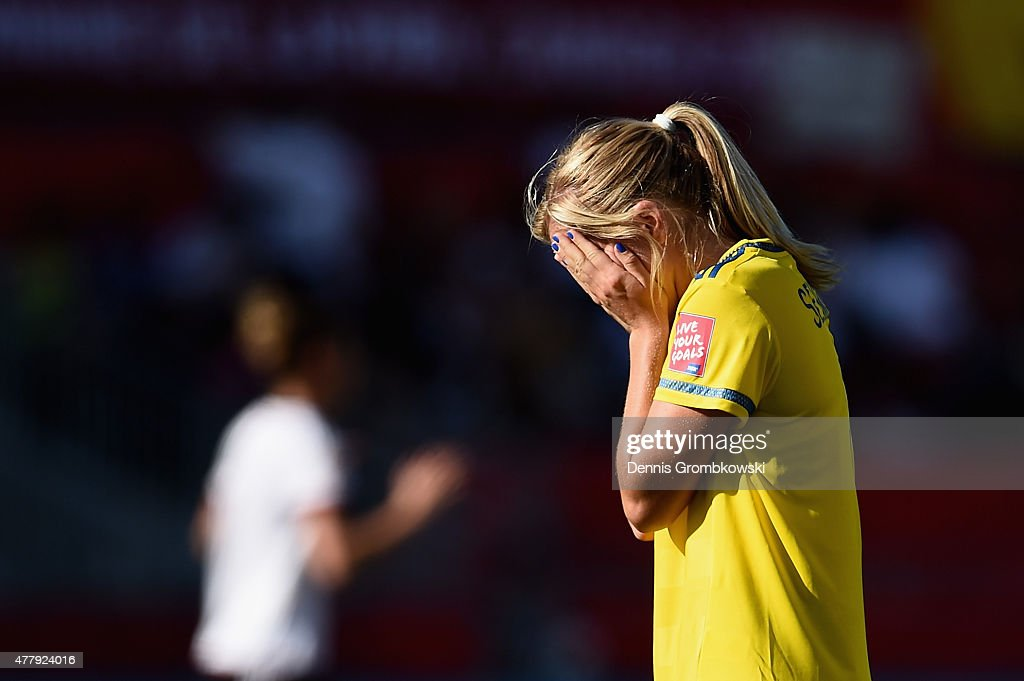 Linda Sembrant of Sweden looks dejected after the FIFA Women's World Cup Canada 2015 Round of 16 match between Germany and Sweden at Lansdowne Stadium on June 20, 2015 in Ottawa, Canada.