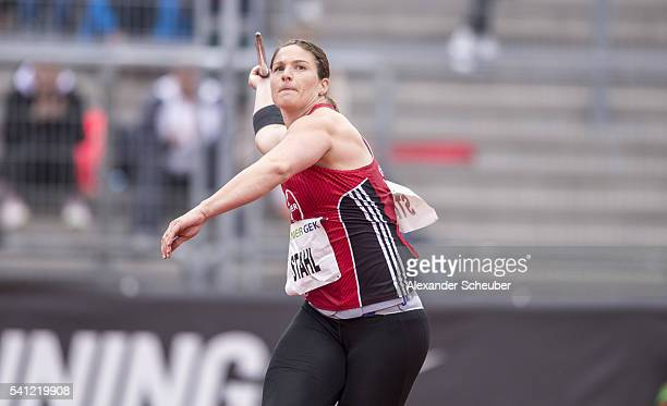Linda Stahl of TSV Bayer 04 Leverkusen competes during the women's javelin final during day 2 of the German Championships in Athletics at Aue Stadium...