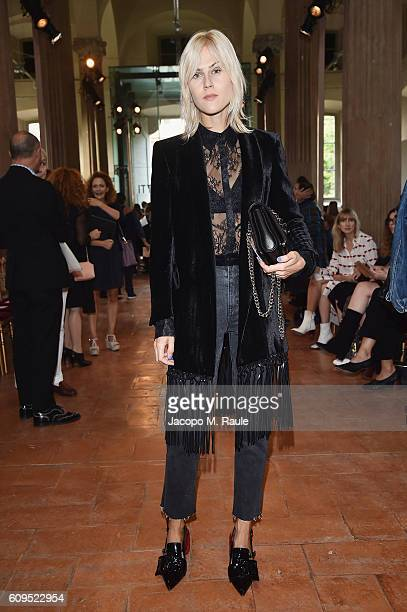 Linda Tol attends the Alberta Ferretti show during Milan Fashion Week Spring/Summer 2017 on September 21 2016 in Milan Italy