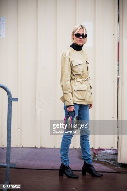 Linda Tol is seen at the Palais de Chaillot after the Hermes show during Paris Fashion Week Womenswear Fall/Winter 2017/2018 on March 6 2017 in Paris...