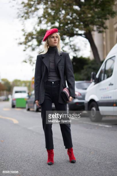 Linda Tol is seen attending Sacai during Paris Fashion Week wearing Sacai on October 2 2017 in Paris France