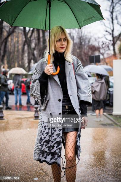 Linda Tol is seen before the Sacai show at the Grand Palais during Paris Fashion Week Womenswear Fall/Winter 2017/2018 on March 6 2017 in Paris France