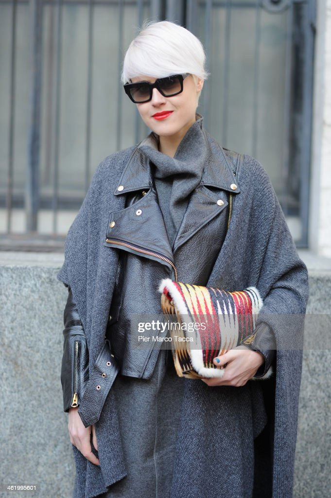 Linda Tol is seen during Milan Fashion Week Menswear Autumn/Winter 2014 on January 12, 2014 in Milan, Italy.