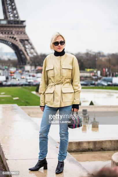 Linda Tol is seen in front of the Eiffel tower after the Hermes show during Paris Fashion Week Womenswear Fall/Winter 2017/2018 on March 6 2017 in...