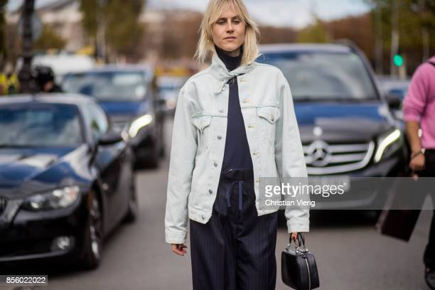 Linda Tol is seen outside Elie Saab during Paris Fashion Week Spring/Summer 2018 on September 30 2017 in Paris France