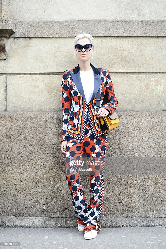 Linda Tol poses wearing a Cavalli suit on February 28 2015 in Milan Italy