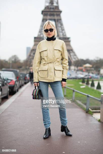 Linda Tol poses wearing By Malene Birger jacket after the Hermes show at the Palais de Chaillot during Paris Fashion Week Womenswear FW 17/18 on...