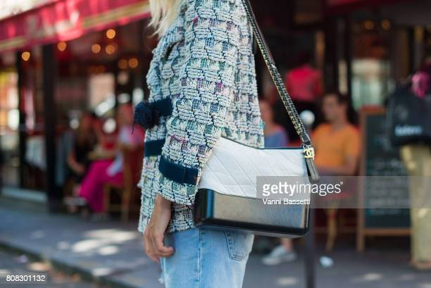 Linda Tol poses wearing Chanel after the Chanel show at the Grand Palais during Paris Fashion Week Haute Couture FW 17/18 on July 4 2017 in Paris...