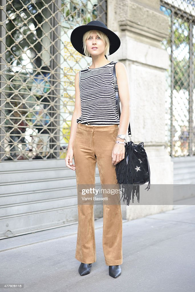 Linda Tol poses wearing H and M trousers and Missoni top on June 20 2015 in Milan Italy