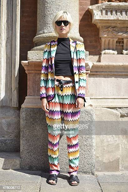 Linda Tol poses wearing Missoni on June 21 2015 in Milan Italy
