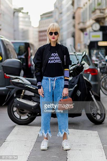 Linda Tol pwearing Diesel Black Gold jacket Theory shirt Zara pants and Acne Studios shoesnseen outside Alberta Ferretti during Milan Fashion Week...