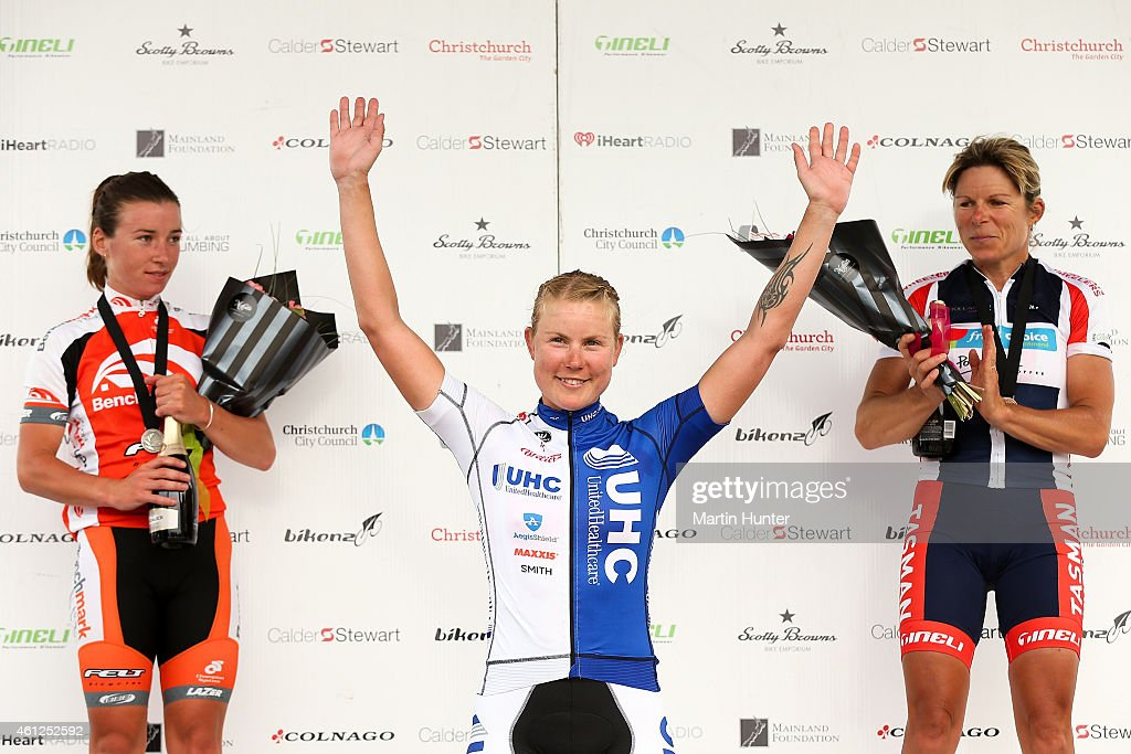 Linda Villumsen of Christchurch celebrates with Sharlotte Lucas and Karen Fulton after winning the New Zealand Women's Road Cycling Championships at...