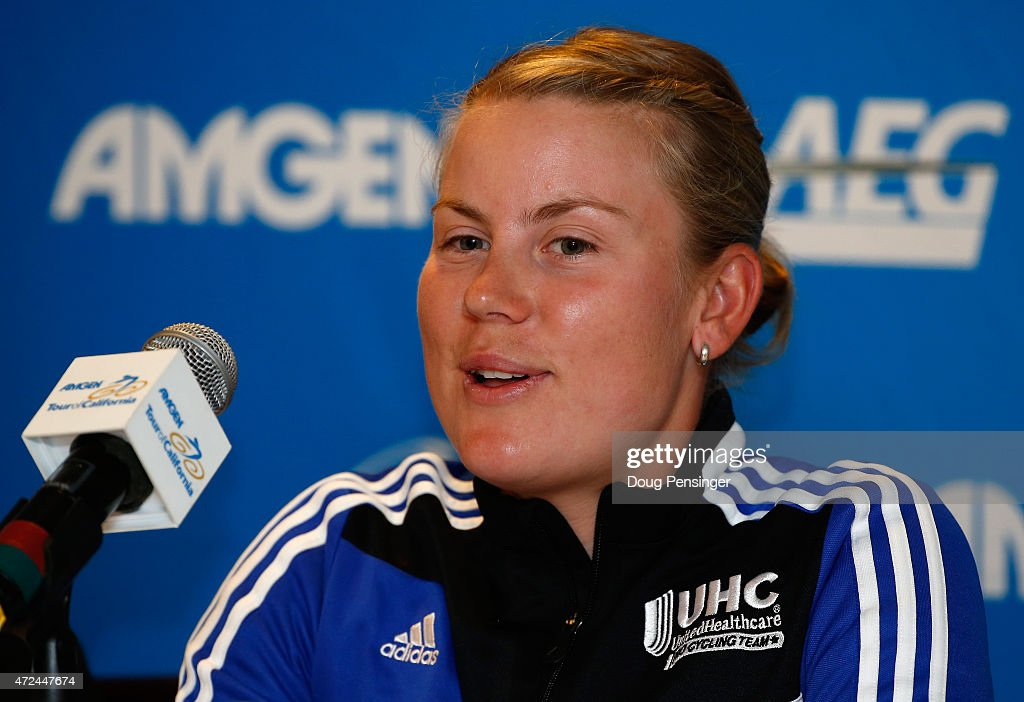 <a gi-track='captionPersonalityLinkClicked' href=/galleries/search?phrase=Linda+Villumsen&family=editorial&specificpeople=2270327 ng-click='$event.stopPropagation()'>Linda Villumsen</a> of New Zealand riding for UnitedHealthcare Professional Cycling Team addresses the media during a press conference ahead of the 2015 AMGEN Tour of California Women's Race Empowered by SRAM at the Lake Tahoe Resort on May 7, 2015 in South Lake Tahoe, California.