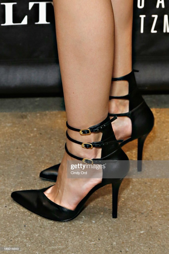 <a gi-track='captionPersonalityLinkClicked' href=/galleries/search?phrase=Linda+Vojtova&family=editorial&specificpeople=856705 ng-click='$event.stopPropagation()'>Linda Vojtova</a> (shoe detail) attends as Gilt And Stuart Weitzman celebrate the 5050 Boot 20th anniversary on October 16, 2013 in New York City.