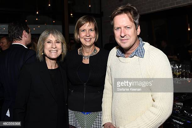 Linda Yablonsky Joanne Heyler and Doug Aitken attend Regen Projects' 25th Anniversary Party on December 11 2014 in Los Angeles California