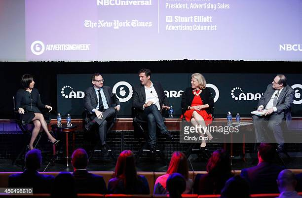 Linda Yaccarino Josh Lieb Trevor Guthrie Linda Boff and Stuart Elliott speak onstage at the Reimagining Brands and Content How NBCUniversal and GE...