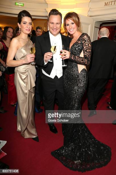 Linda Zervakis and Fashion designer Guido Maria Kretschmer and Mareile Hoeppner during the Semper Opera Ball 2017 at Semperoper on February 3 2017 in...