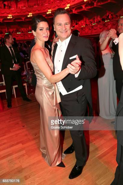 Linda Zervakis and Fashion designer Guido Maria Kretschmer dance during the Semper Opera Ball 2017 at Semperoper on February 3 2017 in Dresden Germany