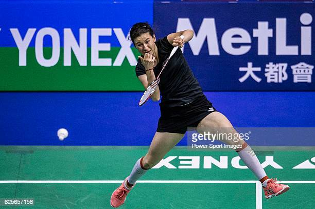 Linda Zetchiri of Bulgaria competes against Aya Ohori of Japan in their Women's Singles Round 2 match during the YONEXSUNRISE Hong Kong Open...