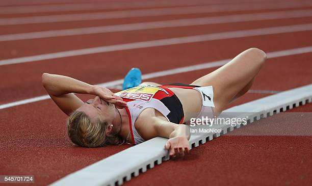 Linda Zublin of Switzerland reacts during the womens heptathlon on day four of The 23rd European Athletics Championships at Olympic Stadium on July 9...