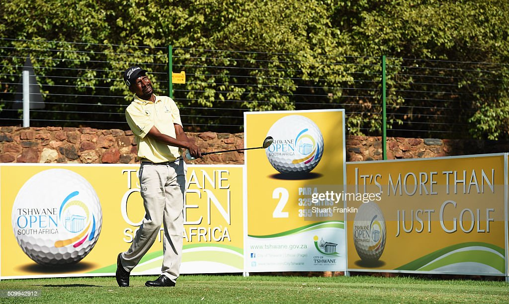 Lindani Ndwandwe Ndwandwe of South Africa plays a shot during the third round of the Tshwane Open at Pretoria Country Club on February 13, 2016 in Pretoria, South Africa.