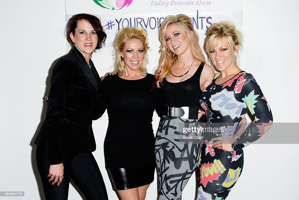 Linda's Voice Executive Director Holly Mattson and founding sisters Amanda Whitis, Summer Harlow and Kelley Whitis arrive at Linda's Voice live art auction at LAB ART Gallery on February 16, 2013 in Los Angeles, California.