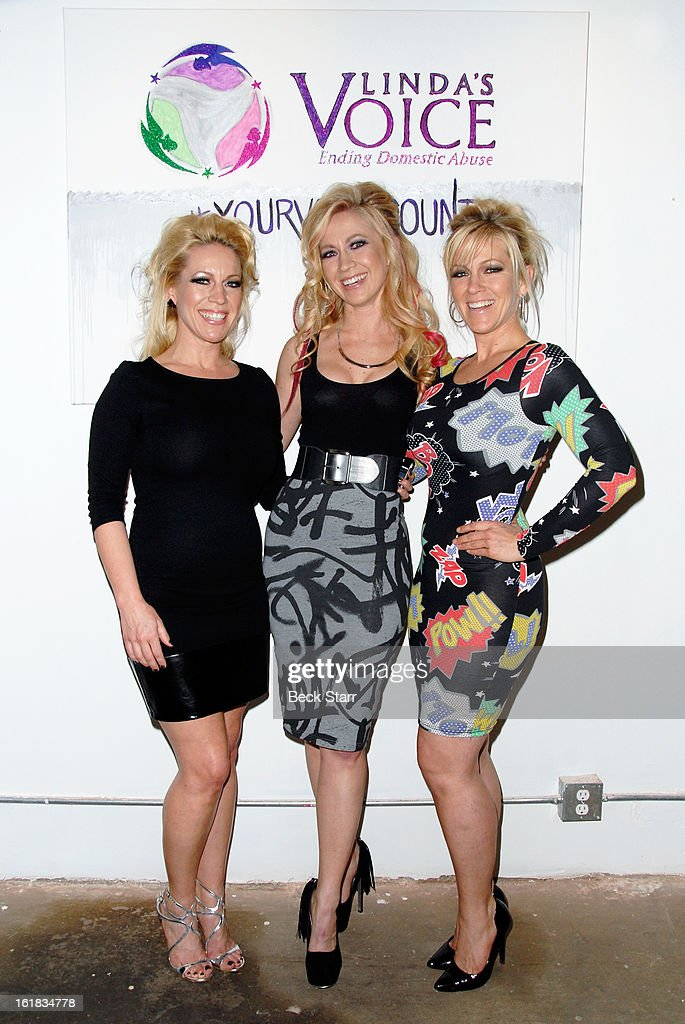 Linda's Voice founders, sisters Amanda Whitis, Summer Harlow and Kelley Whitis arrive at Linda's Voice live art auction at LAB ART Gallery on February 16, 2013 in Los Angeles, California.