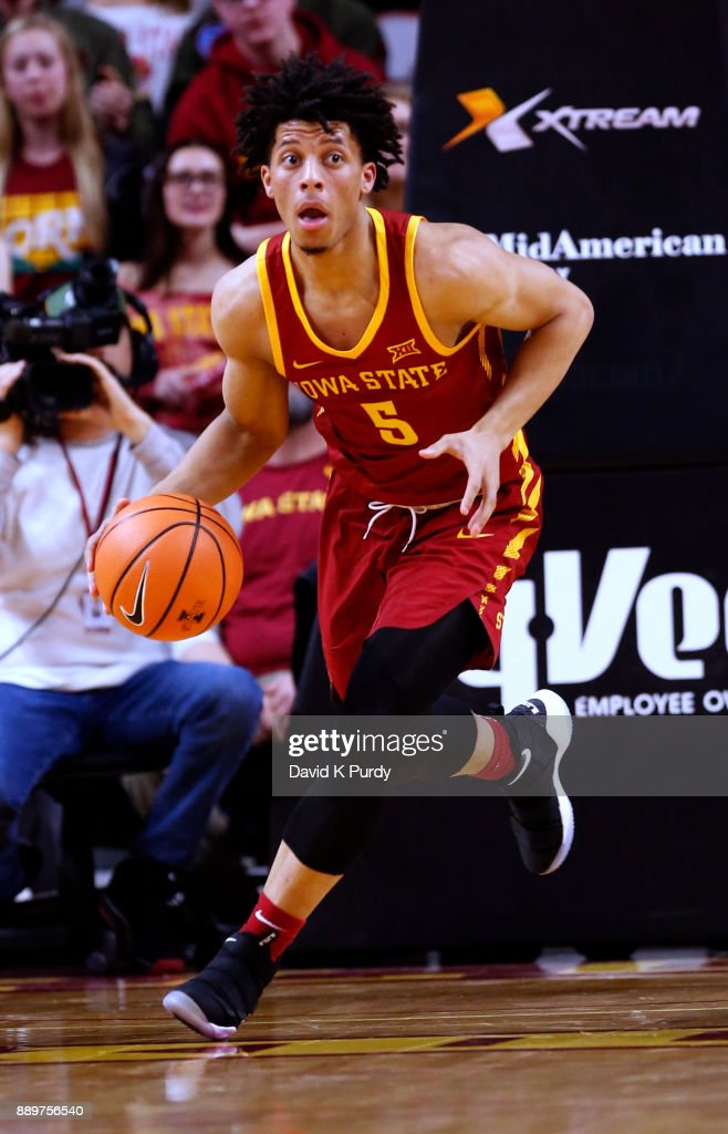 Lindell Wigginton #5 of the Iowa State Cyclones drives the ball in the first half of play against the Iowa Hawkeyes at Hilton Coliseum on December 7, 2017 in Ames, Iowa.