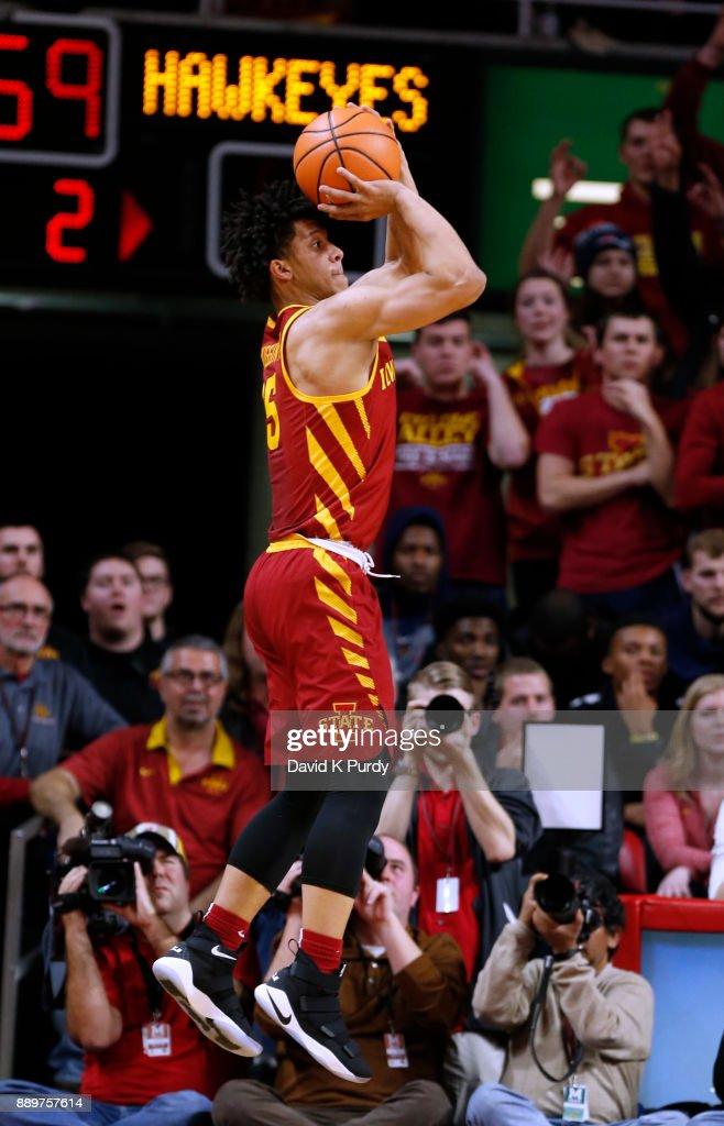 Lindell Wigginton #5 of the Iowa State Cyclones takes a three point shot in the second half of play against the Iowa Hawkeyes at Hilton Coliseum on December 7, 2017 in Ames, Iowa. The Iowa State Cyclones won 84-78 over the Iowa Hawkeyes.