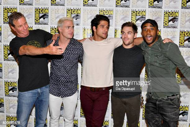 Linden Ashby Colton Haynes Tyler Posey Dylan Sprayberry and Khylin Rhambo at the 'Teen Wolf' Press Line during ComicCon International 2017 at Hilton...