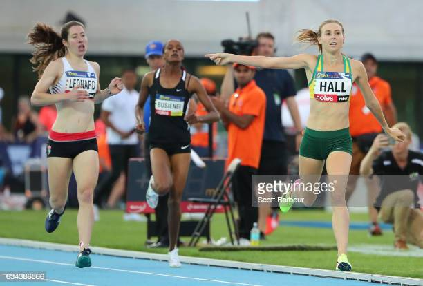 Linden Hall of Australia celebrates winning the Mixed 2x300 Metre Relay during the 2017 Nitro Athletics Series at Lakeside Stadium on February 9 2017...