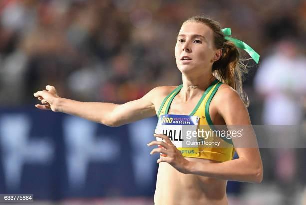 Linden Hall of Australia celebrates winning the Women's 1 Mile Elimination during Nitro Athletics at Lakeside Stadium on February 4 2017 in Melbourne...