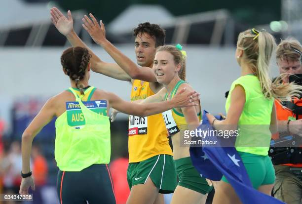 Linden Hall of Australia celebrates with her teammates after winning the Mixed 2x300 Metre Relay during the 2017 Nitro Athletics Series at Lakeside...