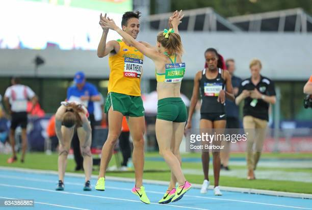 Linden Hall of Australia celebrates with Luke Mathews as they win the Mixed 2x300 Metre Relay during the 2017 Nitro Athletics Series at Lakeside...