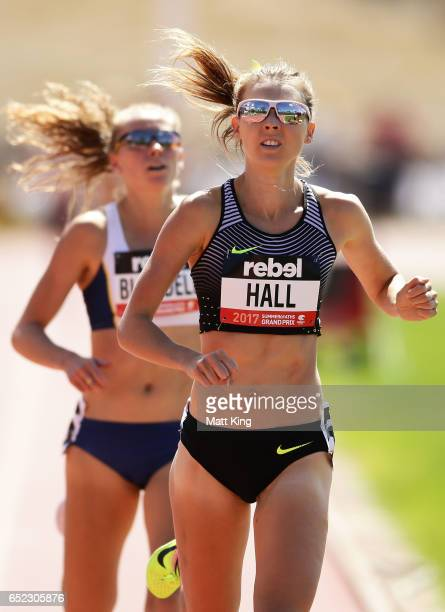 Linden Hall of Victoria beats Jenny Blundell of NSW to win the Women's 1500m during the SUMMERofATHS Grand Prix on March 12 2017 in Canberra Australia
